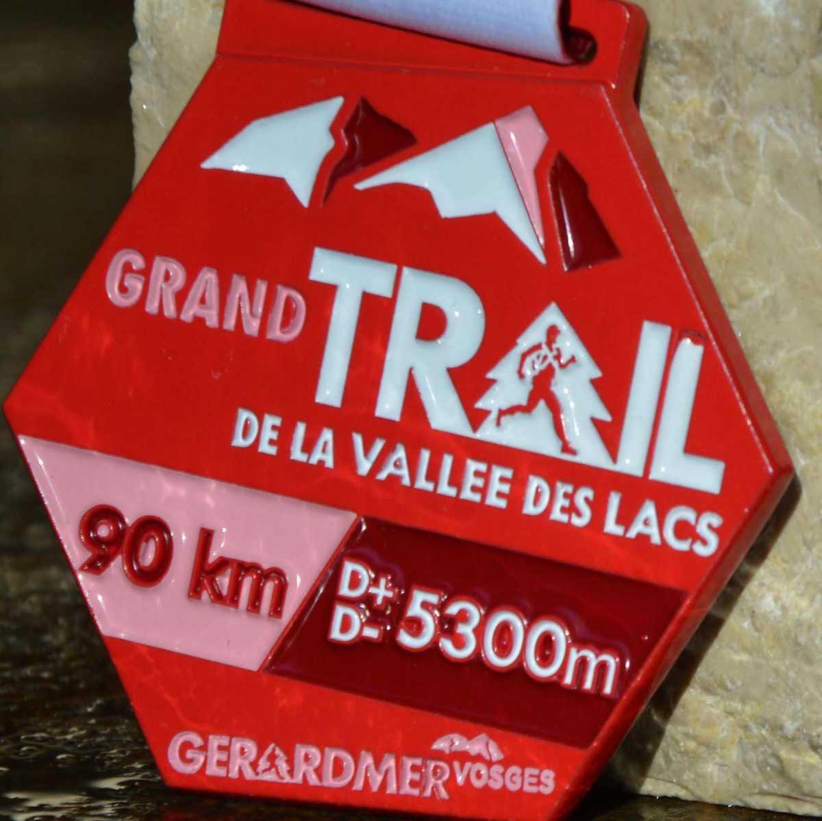 Médaille héxagonale créée pour le grand Trail de la vallée des Lacs - Gerardmer - Vosges - 5300m d+-
