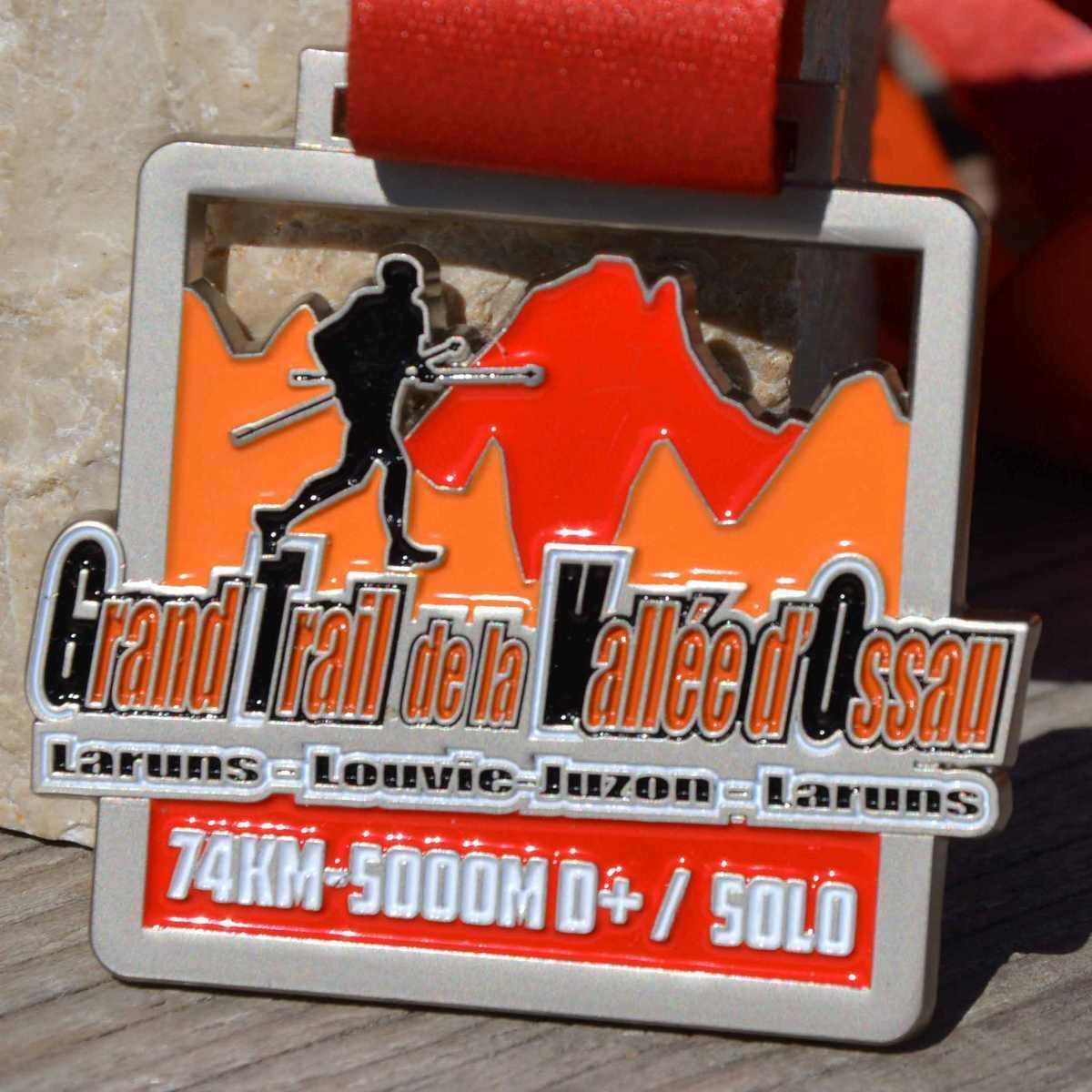 Médaille réalisée pour le Grand Trail de la Vallée d'Ossau - Laruns - Louvie-Luzon - Laruns 74km - 5000M D+ / Solo