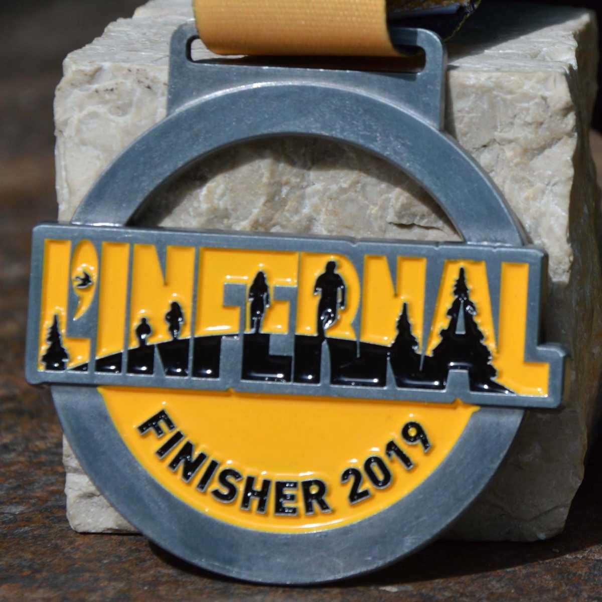 Médaille finisher ronde créée pour la course L'infernal 2019