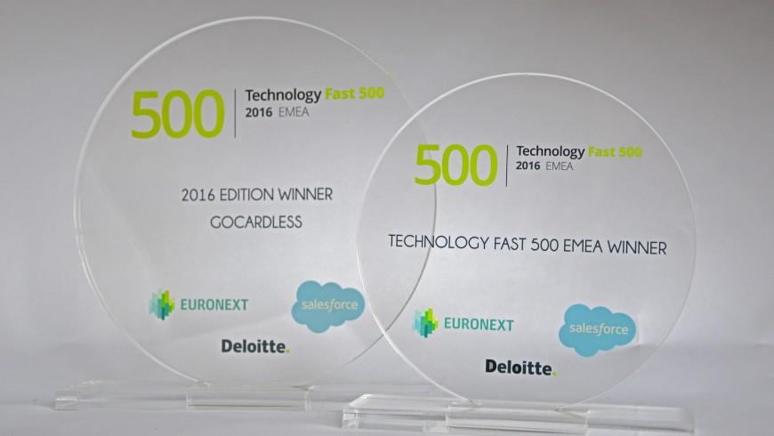 Trophée personnalisé - Technology fast 500 EMEA Winner - Euronext - Deloitte - Salesforce